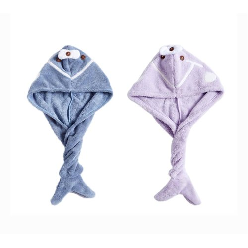 2 Packs Cute Hair Drying Towel Microfiber Hair Turban Absorbent Water, Blue and Purple