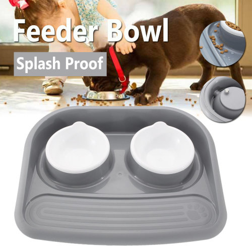 Pet Dog Cat Puppy Double Bowl Feeder Food Water Twin Dish