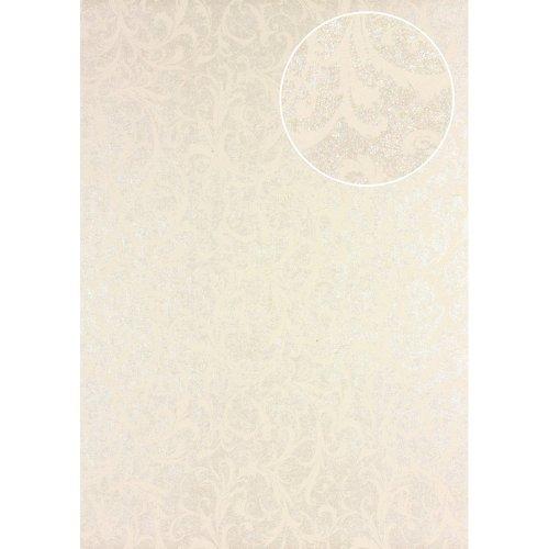 Atlas PRI-523-3 Baroque wallcovering wall shimmering ivory green-beige 5.33 sqm