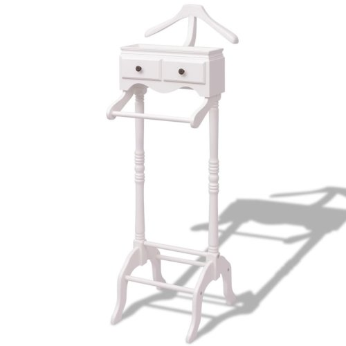 vidaXL Clothing Garment Rack Stand Organiser Portable with Cabinet Wood White