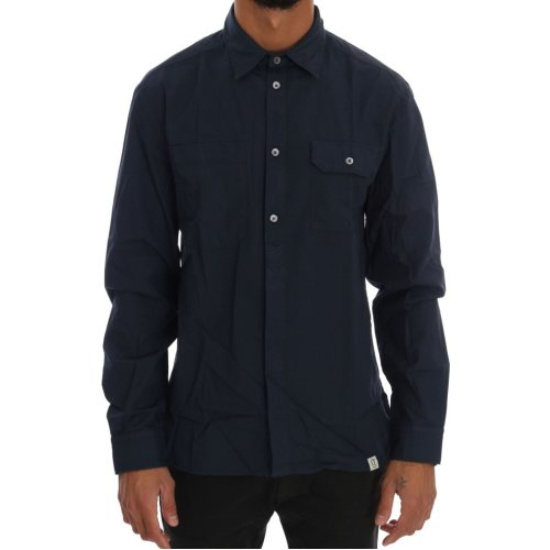 Galliano Blue Casual Cotton Long Sleeve Shirt
