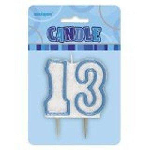 Age 13 Birthday Candle Blue Glitz