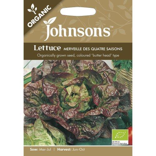 Johnsons Seeds - Pictorial Pack - Vegetable - Lettuce Merveille des Quatre Saison (ORGANIC) - 1250 Seeds