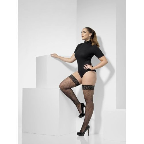 Smiffy's 43554 Fishnet Hold-ups (large/x-large) -  smiffys 43554 fishnet sexy stockings hold ups hosiery holdups largexlarge ladies adults french