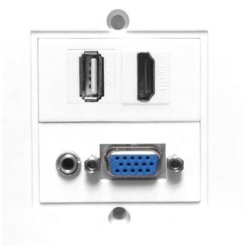 VivoLink WI221293 HDMI + VGA + USB A + 3.5mm White socket-outlet