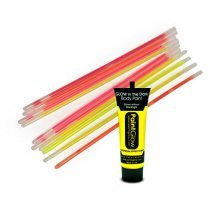 10PC Glow Sticks in Assorted Colours with 13ml Tube Neon UV Yellow Face and Body Paint Party Make Up TRIXES