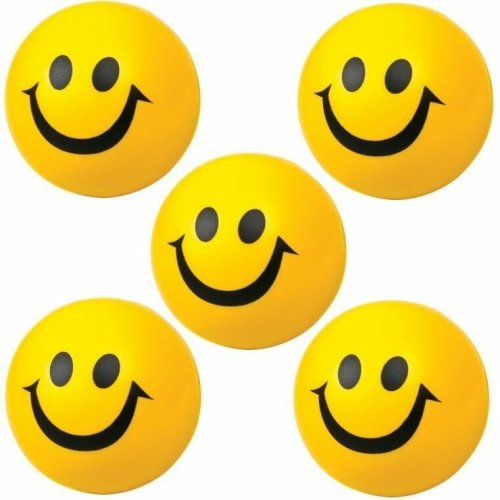 5 Smiley Squeezy Yellow Bouncy Foam 7cm Balls - Fun Sensory & Pocket Money Toys