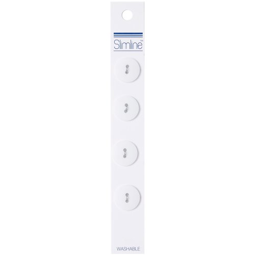 "Slimline Buttons Series 1-White 2-Hole 5/8"" 4/Pkg"