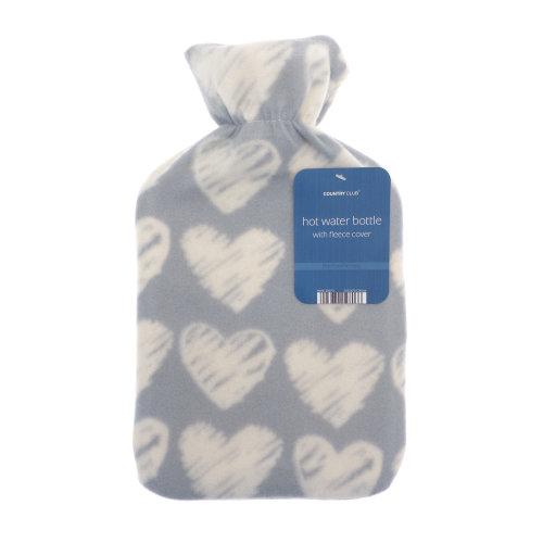 Country Club Fleece Hot Water Bottle, Hearts