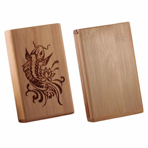 Men/Women Portable Wooden Cigarette Cases for 20 Thin Cigarettes,Fish
