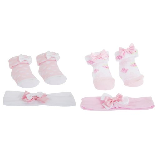 Baby Girls Bow Topped Pink Socks/Headband Gift Set
