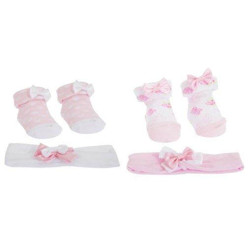 Baby Girls Bow Topped Pink Socks/Headband Gift Set