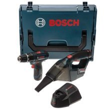 Bosch Professional GSB 12 V-15 Cordless Combi Drill + GAS 12 V Dust Extractor with Two 12 V 2.0 Ah Lithium-Ion Batteries - L-Boxx