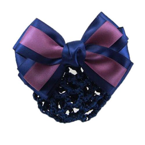 Elegant Ladies Hairnet Bowtie Barrette Hair Clip Snood Net Professional Hairdressing, E