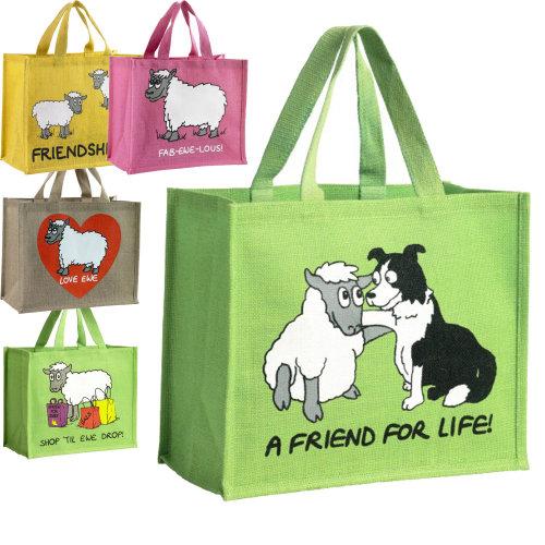 Lambland Sheep Design Canvas Jute Shopper Bag