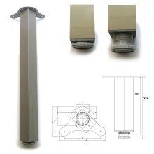 1 x 710mm Aluminium Breakfast Bar Worktop Support Table Leg Square 65mm Diameter