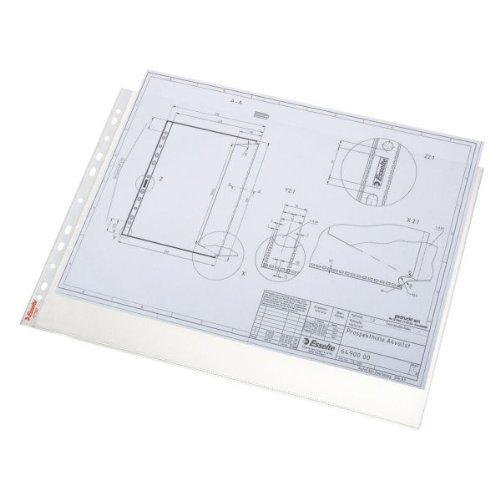Esselte Quality Punched Pocket, Pack of 50, Holds up to 20 A3 sheets, Landscape Format, Transparent, Matte, 85 Micron PP Material, 55230 - Clear