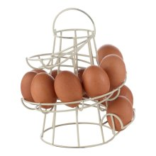 Cream Spiral Egg Holder Storage Kitchen Stand Rack Holds Up To 18 Eggs