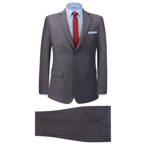 vidaXL Men's 2 Piece Business Suit Grey Size 52 Wedding Formal Jacket Trousers