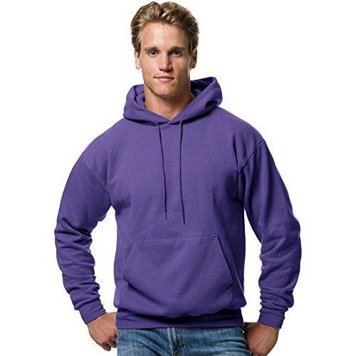 Hanes Mens Fleece Full Cut Hood Pullover Hoodie, Purple, Large