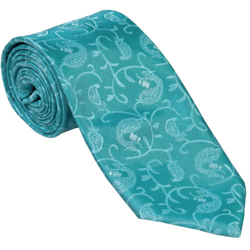 Teal Budding Paisley Wedding Tie #AB-T1003/3