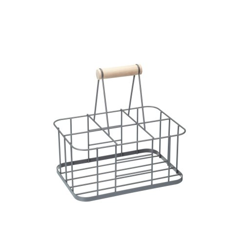 29x 20x 13cm Six Milk Bottle Carrier - x Living Nostalgia Metal Crate Wire -  x bottle carrier living nostalgia milk metal crate wire kitchencraft 29