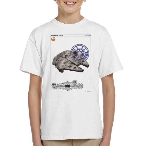 Star Wars Millenniumm Falcon Orthographic Kid's T-Shirt