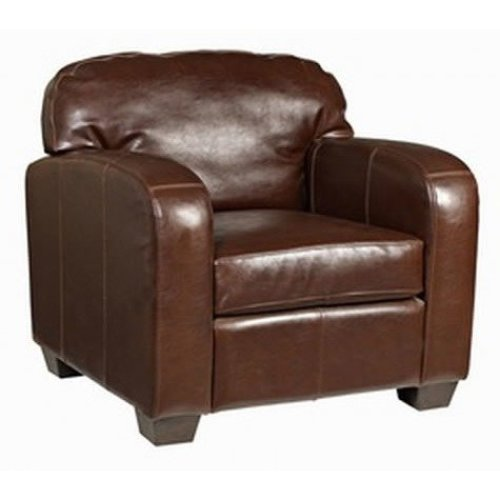 Malaga Brown Real Leather Commercial Quality Armchair