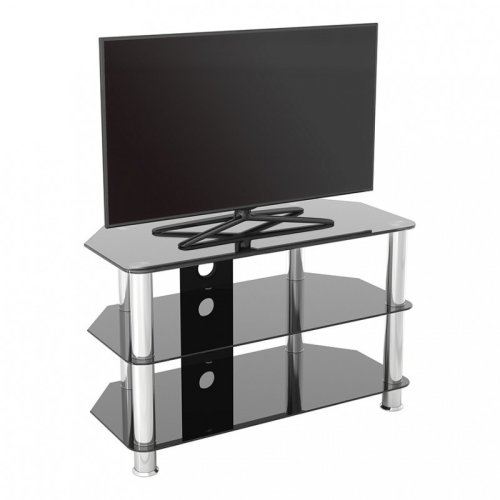 """King Glass TV Stand 80cm, Chrome Legs, Black Glass, Cable Management, for TVs up to 42"""""""