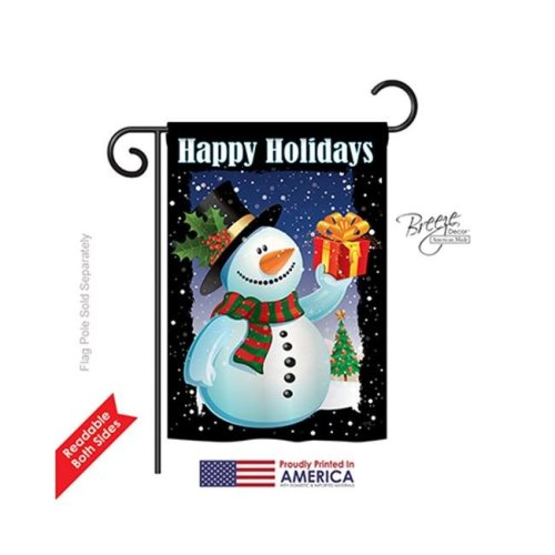 Breeze Decor 64080 Christmas Holiday Snowman 2-Sided Impression Garden Flag - 13 x 18.5 in.