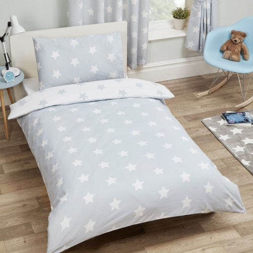 Price Right Home Grey and White Stars Single Duvet Cover and Pillowcase Set Kids Bedding
