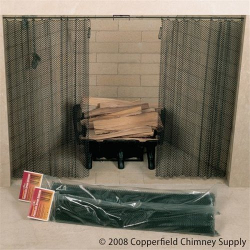 Masewa Metal Net Co.  Ltd  48 Inch  x 22 Inch  Hanging Fireplace Spark Screen  Rod Not Included