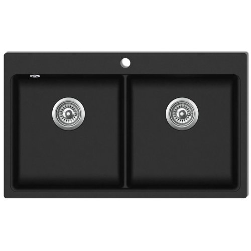 Overmount Kitchen Sink Double Basin Granite Black