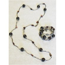 SPIRAL - Beaded  Necklace and Bracelet Set - Brown / Copper