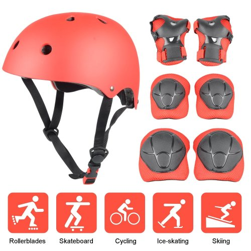 Kid's Protective Gear Set, Yacool Child's Adjustable Helmet, Knee Pads, Elbow Pads and Wrist Pad for Skateboard Roller Skating Cycling Rollerblades...