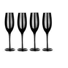 Champagne Flutes - Lustre Black, Set of 4