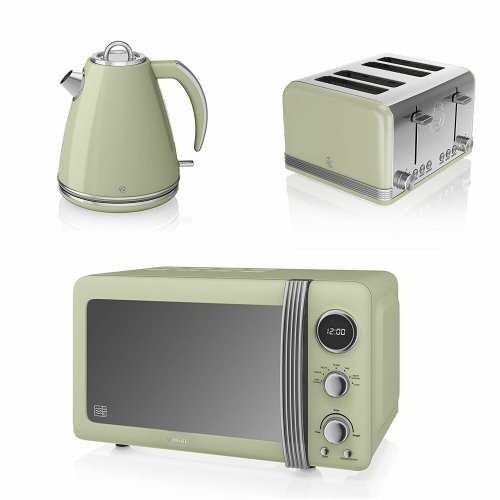 Swan Green Retro Digital 20 Litre Microwave, 1.5 Litre Jug Kettle & 4 Slice Toaster