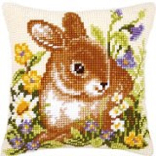 """Latch Hook Cushion Cover Kit""""Spring Rabbit in Flowers"""" 43x43cm"""