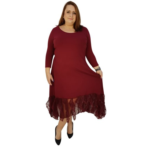 5314f0ecf25a PLUS SIZE MAXI DRESS LAGENLOOK FLORAL LAYERED LACE FRILL 3/4 SLEEVE  [L1041_WINE] on OnBuy