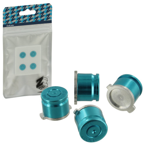 ZedLabz aluminum metal action bullet button set for Sony PS4 controllers - blue