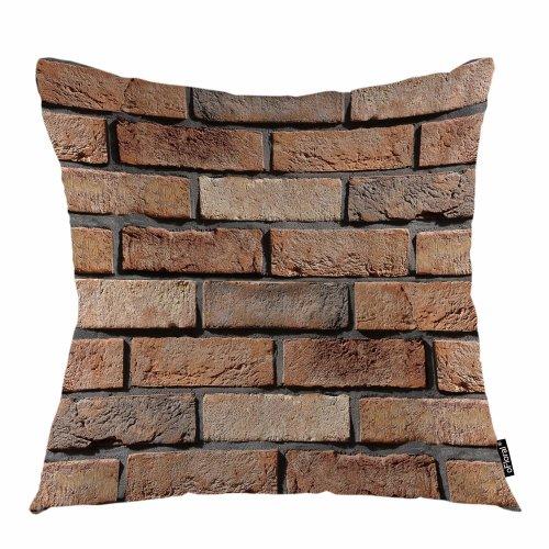 "Melyaxu Brick Throw Pillow Cover Stone Wall Bricks Strength Surface Decorative Square Pillow Case 18""X18"" Pillowcase Home Decor for Sofa Bedroom"
