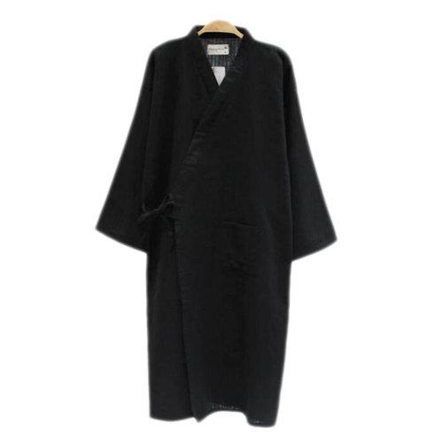 Japanese Style Men Thin Cotton Bathrobe Pajamas Kimono Skirt Gown-D04