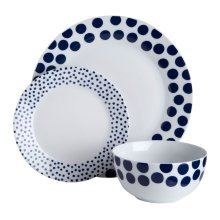12Pc Blue Spot Design Dinner Set