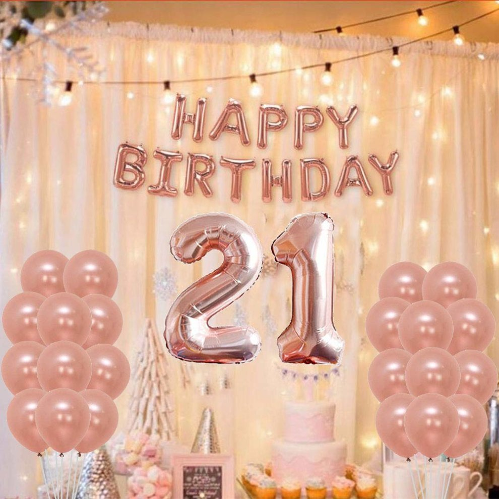 Yoart 21st Birthday Decorations Rose Gold Party Sets Happy Banner