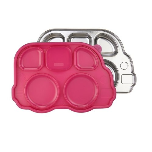 Innobaby - Stainless Steel Bus Platter with Lid - Pink
