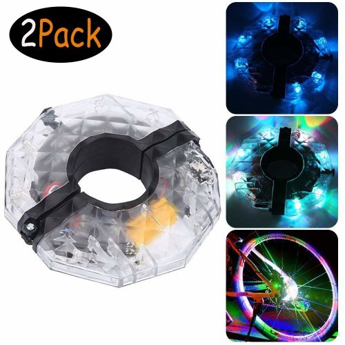 Bike Wheel Lights USB Rechargeable- 4 Colors 3 Modes - Water Resistant LED Bicycle Hub Light for Both Adults Kids Bike (Suitable for Hub Diameter:...