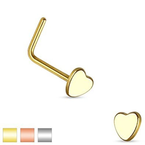 Smooth Heart Top Nose Stud L Bend