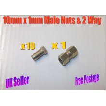 Male 10mm x 1mm Long Nuts & 2 Way Connector Brake Pipe Nuts Set x 11